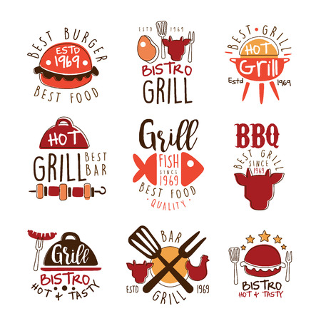 sausage pot: Best Grill Bar Promo Signs Series Of Colorful Vector Design Templates With Food Silhouettes