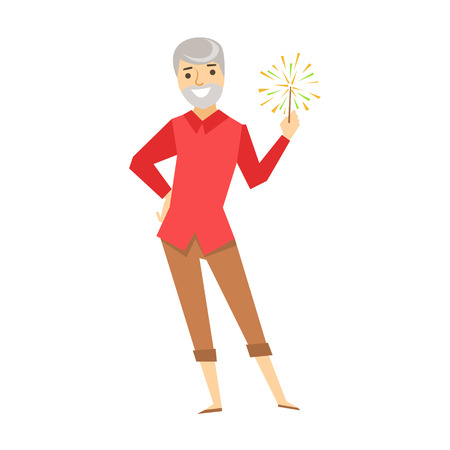 lighten: Old Man With Firework, Part Of Funny Drunk People Having Fun At The Party Series