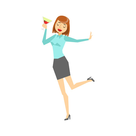 enjoying: Woman In Office Clothes And Wine Glass Dancing, Part Of Funny Drunk People Having Fun At The Party Series