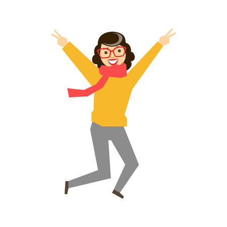Hipster Girl In Glasses ,Sweater And Scarf Dancing, Part Of Funny Drunk People Having Fun At The Party Series Illustration