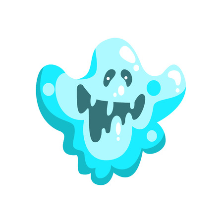 Blue Ghost In Childish Cartoon Manner Isolated On White Background.