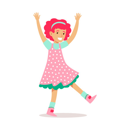 Happy Redhead Girl In Classic Girly Color Polka Dotted Dress Smiling Cartoon Character