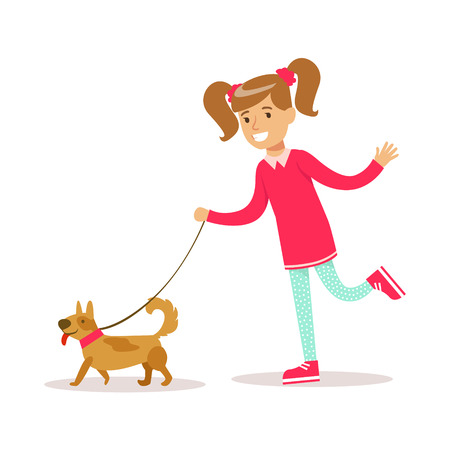 dog walking: Happy Girl In Classic Girly Color Clothes Smiling Cartoon Character Walking A Dog