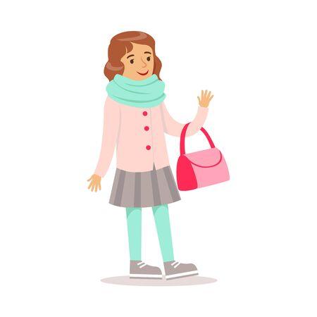 클래식 소녀 패션 소녀 지갑과 스카프 스마일 만화 캐릭터와 행복 소녀 일러스트