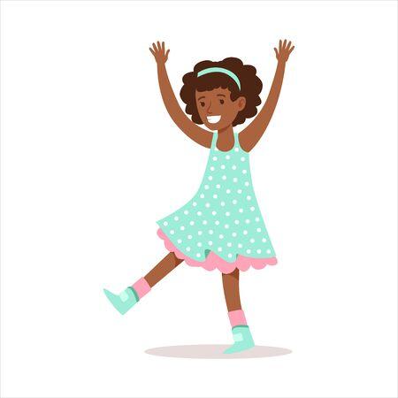 클래식 걸 장식 컬러 카우보이 드레스에 웃는 곱슬 소녀 만화 캐릭터 미소