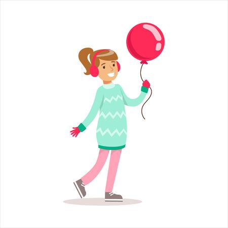 풍선과 함께 산책하는 클래식 걸 드레스 옷에 웃는 만화 캐릭터에서 행복한 여자 일러스트
