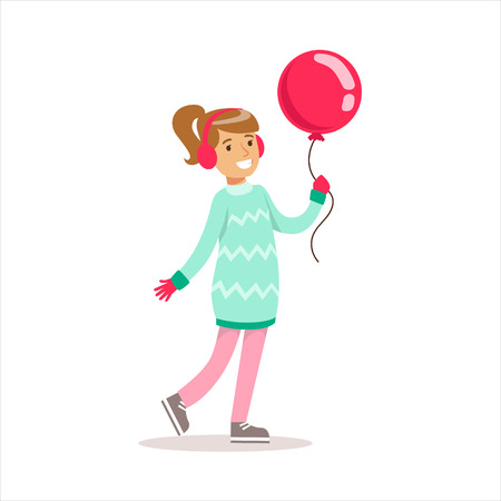 expected: Happy Girl In Classic Girly Color Clothes Smiling Cartoon Character Walking With Balloon Illustration