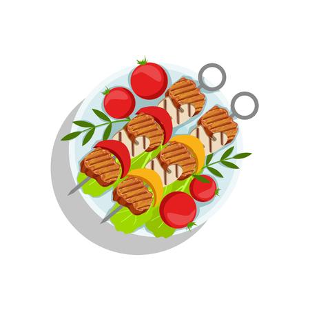 Pork Skewers With Mushrooms And Pepper, Oktoberfest Grill Food Plate Illustration