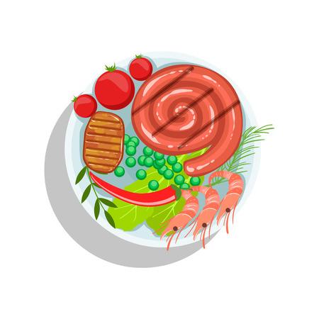 Rolled Sausage, Beef Steak And Shrimps, Oktoberfest Grill Food Plate Illustration Illustration
