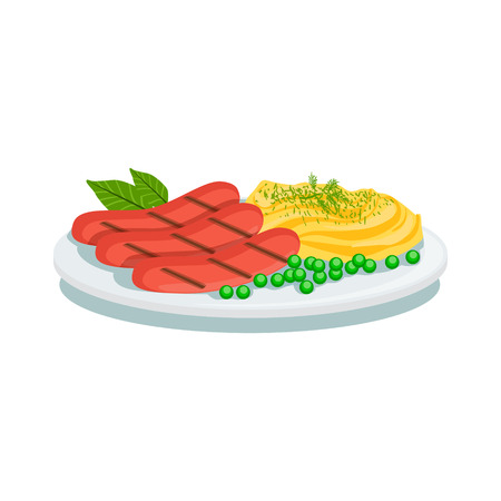 Sausages And Mashed Potato, Oktoberfest Grill Food Plate Illustration