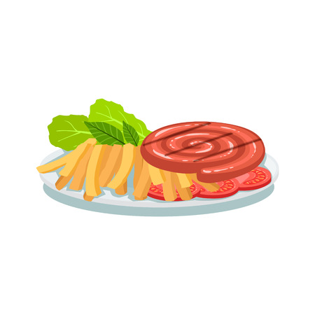 food plate: Sausage Roll, Fries And Tomato, Oktoberfest Grill Food Plate Illustration
