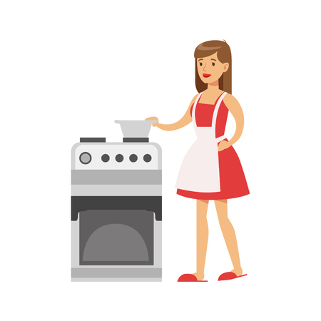 Woman Housewife Cooking At The Kitchen , Classic Household Duty Of Staying-at-home Wife Illustration