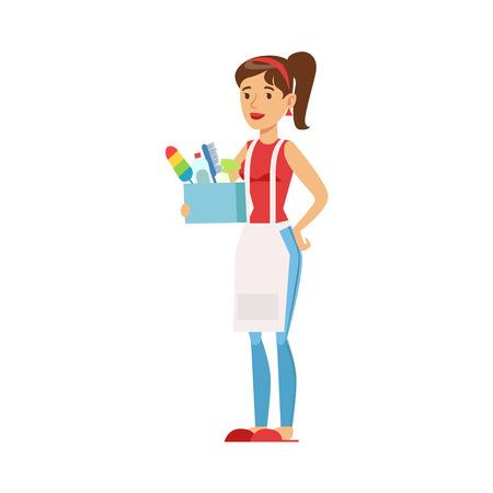 Frau Hausfrau Holding Box von Inländischen Chemie Und Inventar, Klassische Haushalt Duty Of Staying-at-home Frau Illustration Vektorgrafik