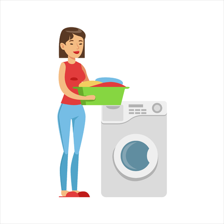 Woman Housewife Loading Dirty Laundry Into Washing Machine, Classic Household Duty Of Staying-at-home Wife Illustration