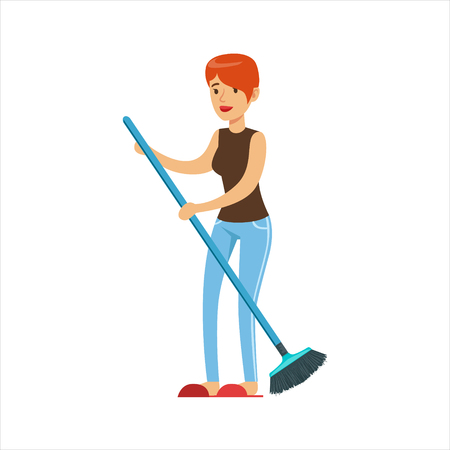 Woman Housewife Sweeping Floor With Broom, Classic Household Duty Of Staying-at-home Wife Illustration