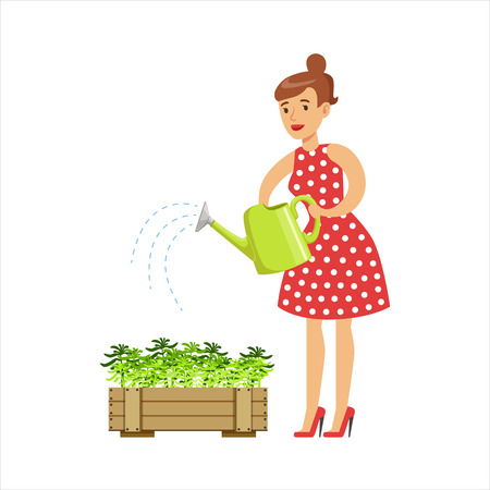 Woman Housewife Watering The Plants In The Pot, Classic Household Duty Of Staying-at-home Wife Illustration