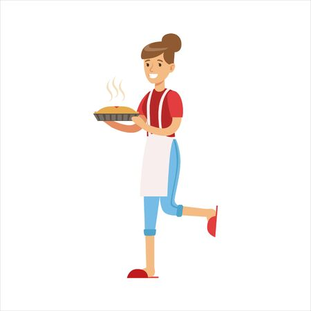 freshly baked: Woman Housewife Holding Freshly Baked Hot Pie, Classic Household Duty Of Staying-at-home Wife Illustration Illustration