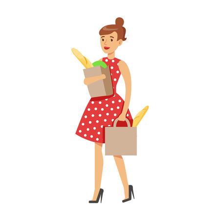 Compras de comestibles del ama de casa de la mujer que llevan dos bolsas de papel, deber casero clásico de la ilustración de la esposa que se queda en casa Vectores