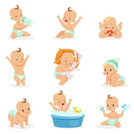 Entzückendes glückliches Baby und seine tägliche Routine-Reihe der netten Karikatur-Säuglings- und Säuglingsillustrationen Standard-Bild - 70384337