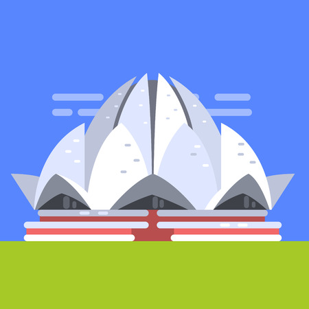 Lotus Temple In New Deli, Famous Traditional Touristic Symbol Of Indian Culture And Arhitecture Illustration