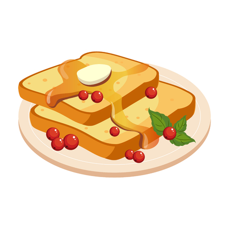 Bread Toasts With Melting Butter And Honey Plate Cartoon Illustration Illustration