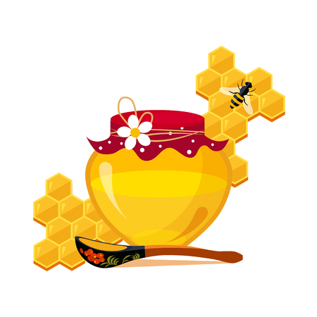 Honey Jar, Spoon And Honeycombs With Bee Cartoon Illustration
