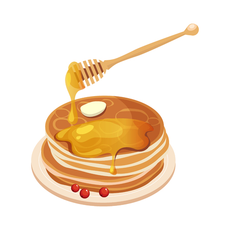 Pile Of Pancakes With Honey Dipper Cartoon Illustration