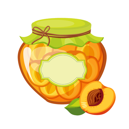 pasteurized: Sweet Apricot Orange Jam Glass Jar Filled With Fruit With Template Label Illustration