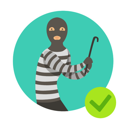 Burglar In Msk With Crowbar, Insurance Company Services Infographic Illustration