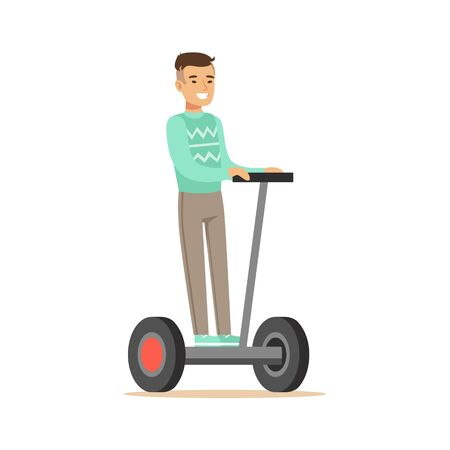 powered: Asian Man In Blue Sweater Riding Electric Self-Balancing Battery Powered Personal Electric Scooter Cartoon Character Illustration