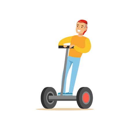 Guy With Cool Haircut In Yellow Sweater Riding Electric Self-Balancing Battery Powered Personal Electric Scooter Cartoon Character