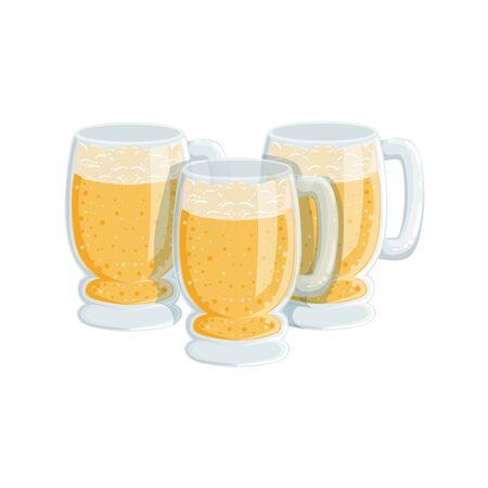 Three Pints Of Foamy Lager Beer, Oktoberfest Festival Drinks Bar Menu Item