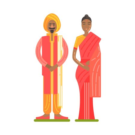 Couple Wearing National Costumes Of Red And Orange Colors, Famous Traditional Touristic Symbol Of Indian Culture Illustration