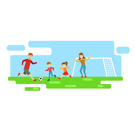 Parents And Kids Playing Football, Happy Family Having Good Time Together Illustration Illustration