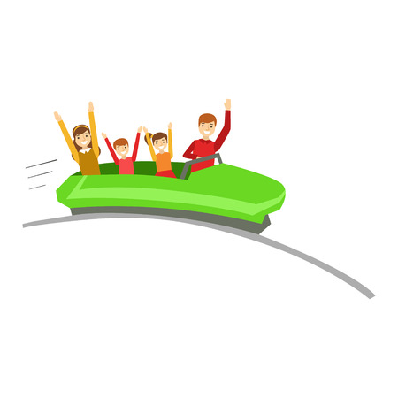 Parent And Kids On Rollercoaster Ride In Amusement Park, Happy Family Having Good Time Together Illustration Illustration