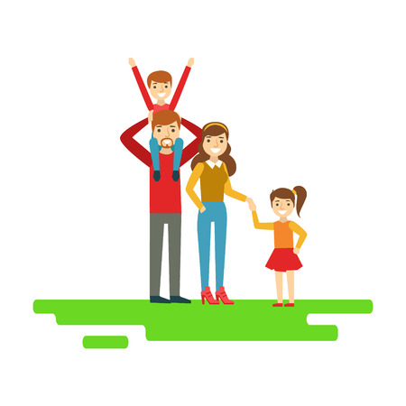 Parents And Kids Holding Hands In Park, Happy Family Having Good Time Together Illustration Illustration