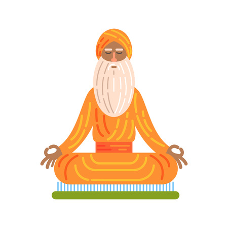 Yogi Sitting On Board With Nails In Lotus Pose, Famous Traditional Touristic Symbol Of Indian Culture Illustration