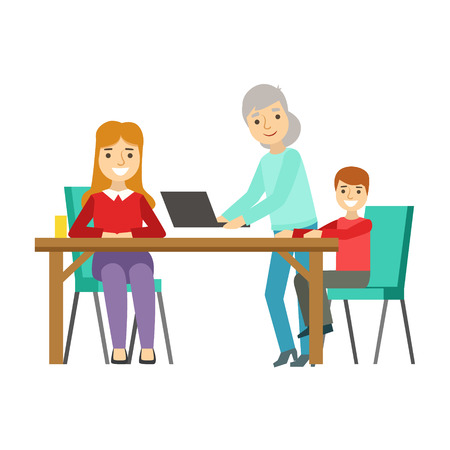 mutual: Mother, Kid And Grandma Using Computer, Happy Family Having Good Time Together Illustration