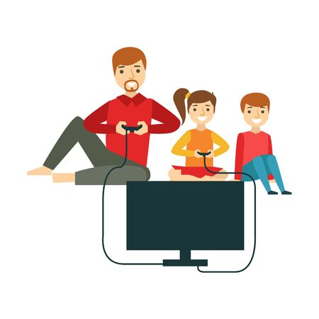having fun: Father Playing Video Games With Kids, Happy Family Having Good Time Together Illustration Illustration