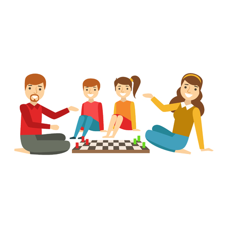 Parents And Kids Playing Chess, Happy Family Having Good Time Together Illustration  イラスト・ベクター素材
