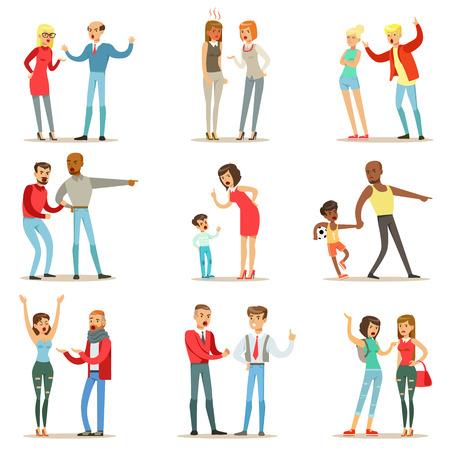 Mensen vechten en Quarrelling een luid publiek schandaal Collection stripfiguren agressief en gewelddadig gedrag Illustraties Vector Illustratie