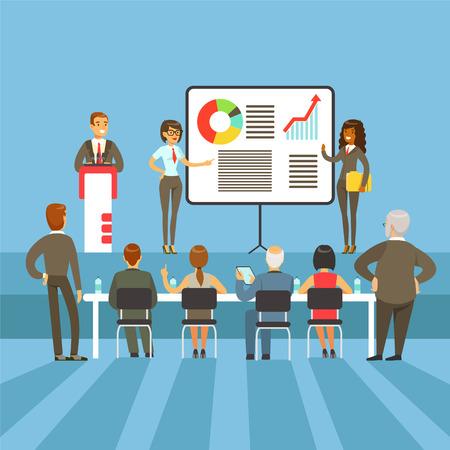 Regelmatige Bedrijfsresultaten En Prestatie Presentatie Met Info materialen en grafische kaarten van de grootaandeelhouders