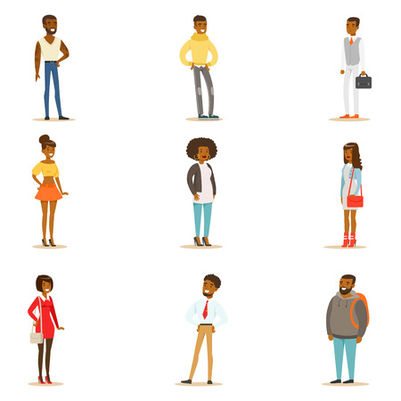 Afro-American Black People Street Style Clothing Set Of Cartoon Characters Standing Illustration