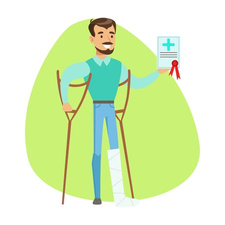 Man On Crouches Holding Health Insurance Contract , Insurance Company Services Infographic Illustration
