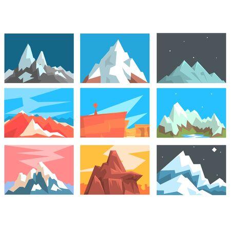 montañas nevadas: Picos de montaña e ilustración de las cumbres del paisaje Vector conjunto con montañas de las distintas zonas geográficas. Vectores