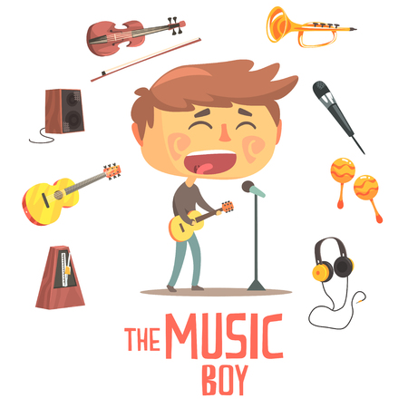 metronome: Boy Singer And Musician, Kids Future Dream Professional Occupation Illustration With Related To Profession Objects