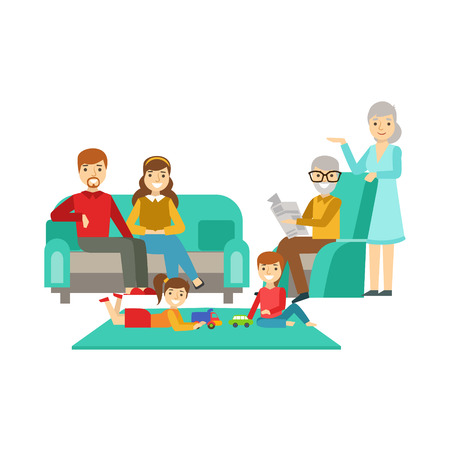 Parents And Grandparents Watching Kids Play, Happy Family Having Good Time Together Illustration