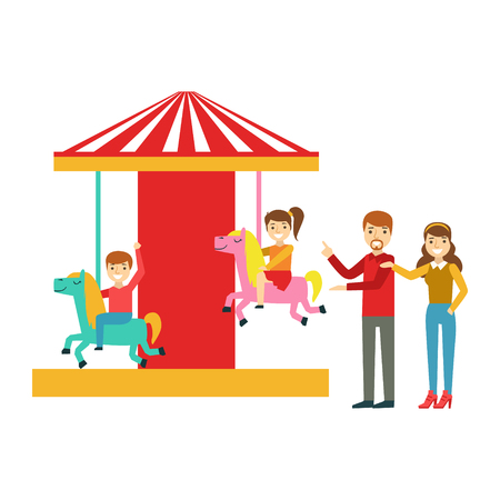 Parents Watching Kid Riding On Merry-Go-Round, Happy Family Having Good Time Together Illustration Illustration