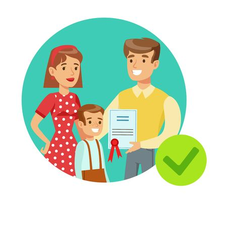 Smiling Family Holding Insurance Contract, Insurance Company Services Infographic Illustration