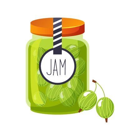 Bocal en verre de confiture de Sweet Green Gooseberry rempli de Berry avec illustration d'étiquette de modèle